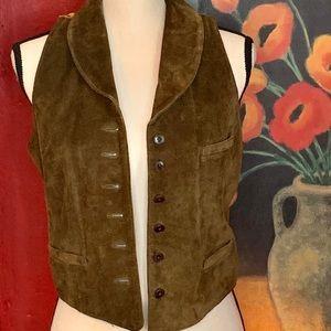 Banana Republic Suede Leather Button Up Vest 4